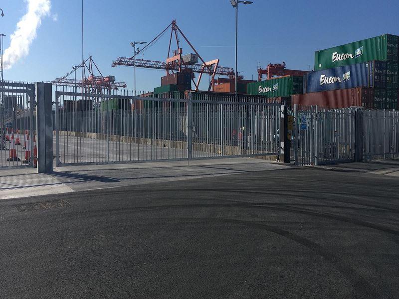 Irish Fencing Services Palisade Fence & Sliding Gate Dublin Port.3
